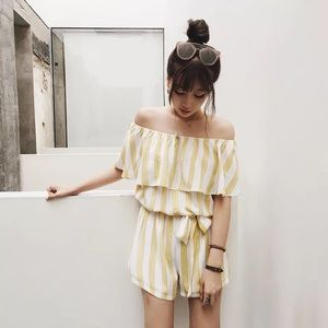 Pants - Sale! Yellow White Off The Shoulder Romper (Fit S)